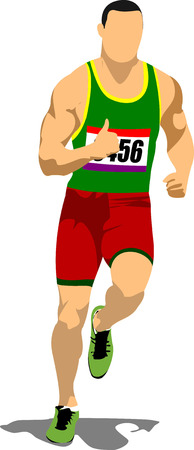 long distance: Long-distance runner. Short-distance runner. Vector illustration