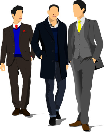 handsome men: Three Young handsome men. Businessman.Vector illustration