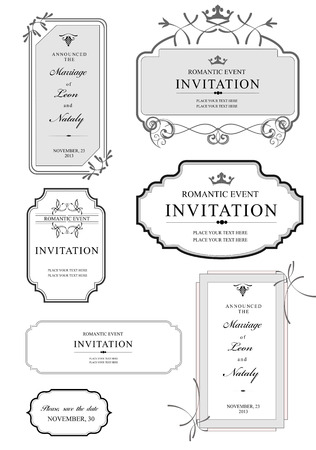 letterpress: Set of ornate vector frames and ornaments with sample text. Perfect as invitation or announcement. All pieces are separate. Easy to change colors and edit.