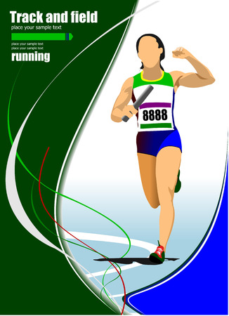 athletics track: Short-distance runner. Raley. Vector illustration