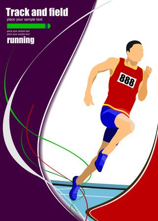 road runner: Long-distance runner. Short-distance runner. Vector illustration