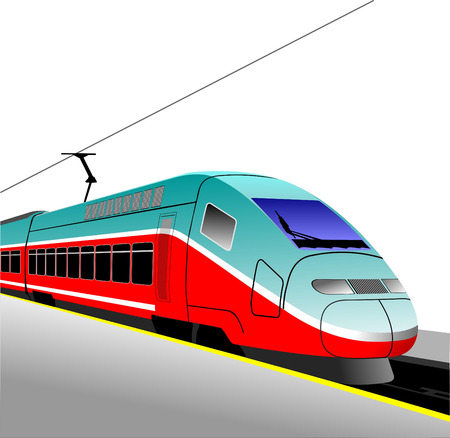 high speed railway: Red-blue modern speed bullet train. Fast suburban, subway, metro, commuter, hovercraft. Vector illustration.
