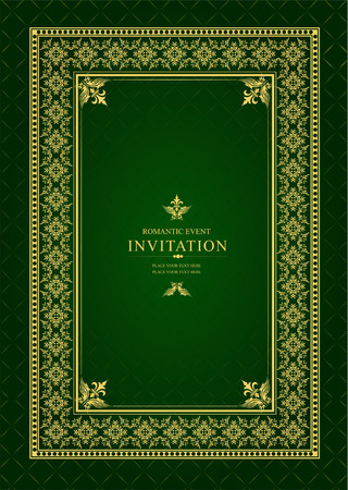 be green: Gold ornament on deep green background. Can be used as invitation card. Vector illustration