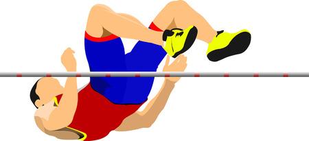 salto largo: El hombre del salto de altura. Sport. Pista y campo. Ilustración vectorial