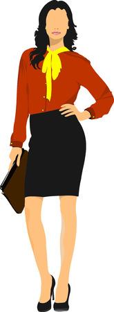 cute lady: Cute lady in orange. Vector illustration