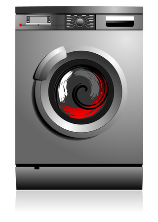 dry cleaner: Grey washing machine vector illustration. Home equipment