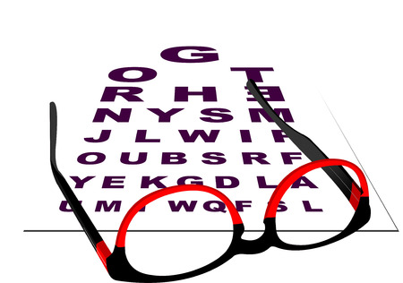 eye exams: Glasses for reading with table for eye exams.  Vector illustration Illustration