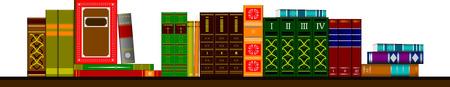 bibliophile: Vector illustration bookshelf library with books