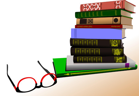 bibliophile: Vector illustration of column books with spectacles image Illustration