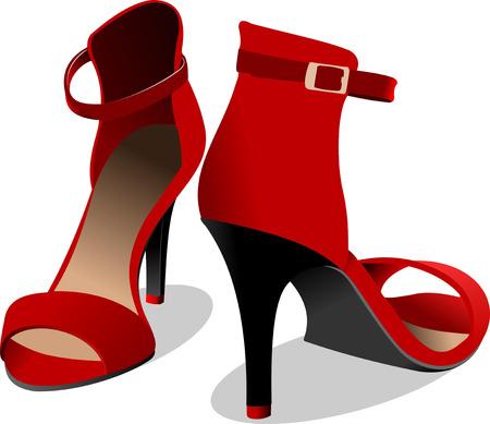 tienda zapatos: Zapatos de mujer rojo de moda. Ilustración vectorial