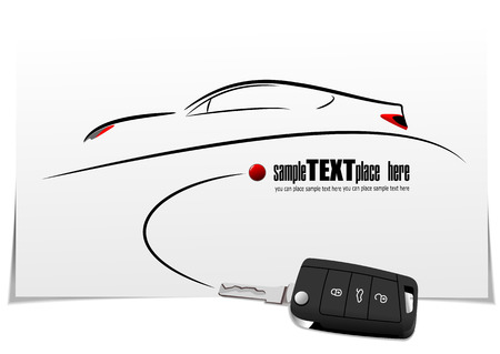 flown: Sketch of silhouette car on white paper with ignition car image. Vector illustration
