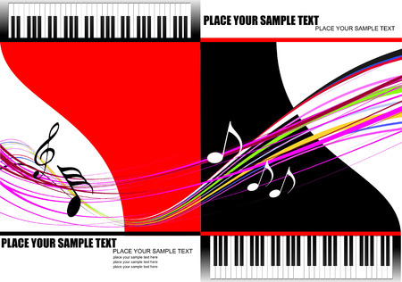 musical theater: Cover for brochure with two piano images. Vector illustration