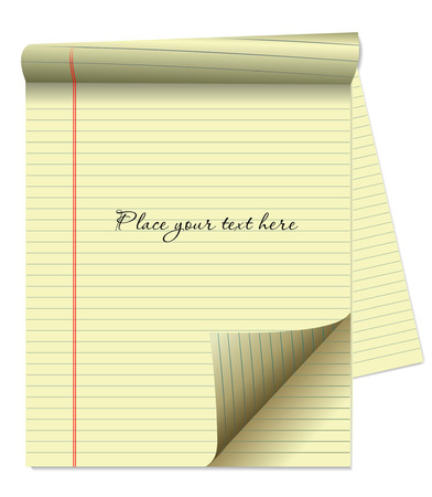 legal pad: CLIPBOARD YELLOW LEGAL PAD CORNER PAPER PAGE CURL Illustration
