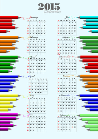 number 12: 2015 calendar with colored pencils image. Vector illustration