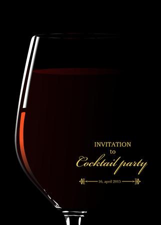 赤ワインのガラス。カクテル パーティーへの招待状。ベクトル図