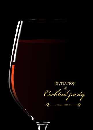 Glass of red wine. Invitation to cocktail party. Vector illustration Stock Illustratie