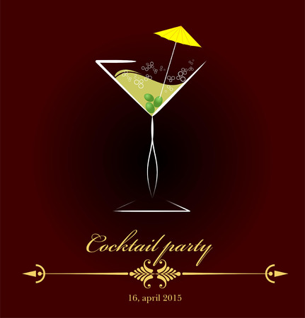 Glass of red wine. invitation to cocktail party. Vector illustration