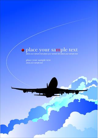 boeing 747: Aereo in onda. Illustrazione vettoriale