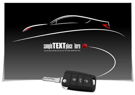 flown: Sketch of silhouette car on white paper with ignition key image. Vector illustration