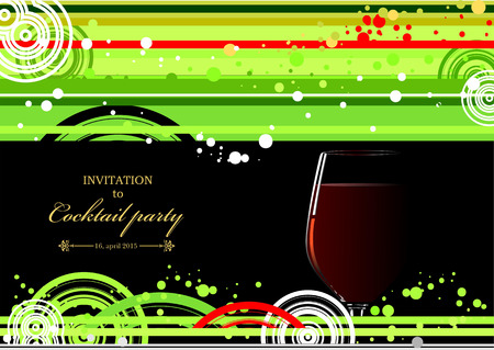 doted: Green and yellow doted  background with wine glass of wine. Vector illustration