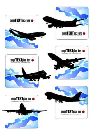 boeing 747: Sei icone con sagome di aerei. Illustrazione vettoriale. Vettoriali