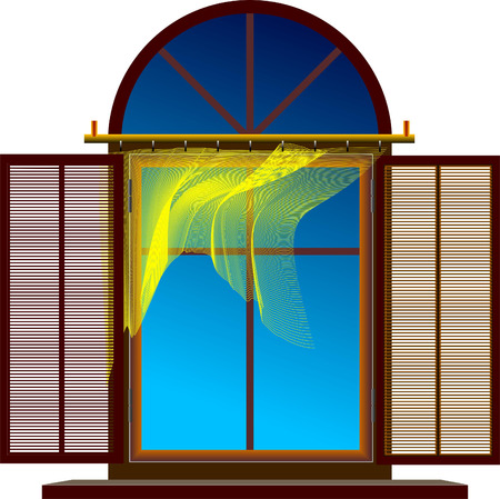 architectural styles: Exposed window with flutter brise-bises. Vector illustration