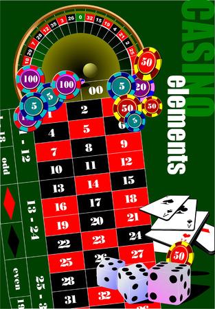atlantic city: Casino elements. Vector illustration