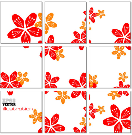 tiled floor: Vector Illustration geometrical mosaic pattern with red and yellow flowers Illustration