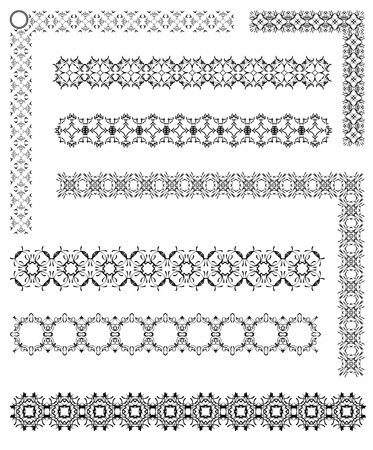 Collection of ornamental rule lines and corners in Different Design styles.  Vector illustration Illustration