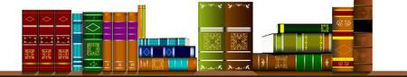 bibliophile: Bookshelf library with books. Vector illustration