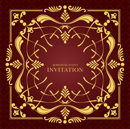 Gold ornament on brown background. Can be used as invitation card. Vector illustration Vector