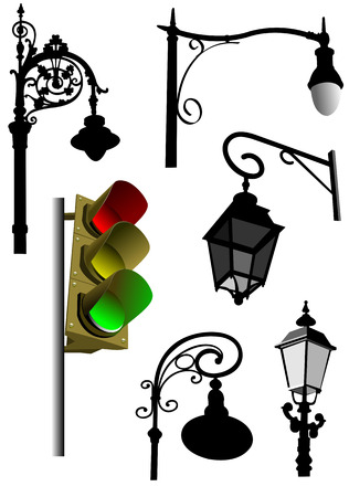 streetlight: Old style iron black and white street lamp silhouettes and colored traffic light image. Vector illustration