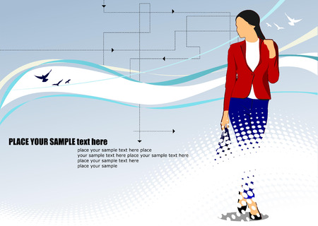 Modern young business women on hi-tech background. Vector illustration Vector
