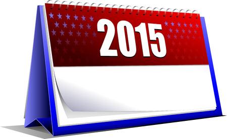 Vector illustration of desk calendar. 2015 year Vector