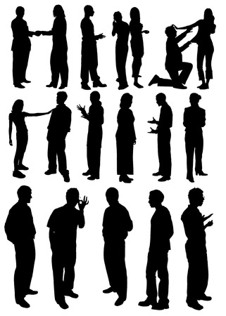 good looking man: Black and white man and woman sirhouettes. Vector illustration Illustration