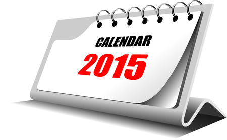 Vector illustration of desk calendar. 2015 year