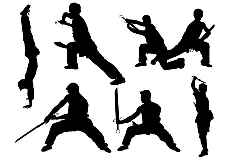 kung: Sport karate man doing exercise. Vector illustration