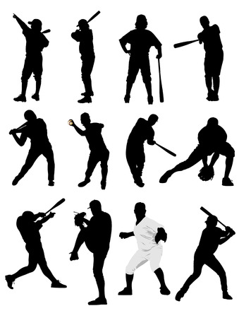 Big set of black and white of baseball player silhouettes. Vector illustration