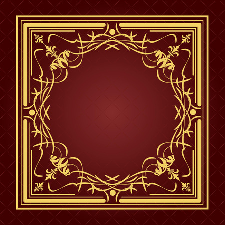 Gold ornament on brown background. Can be used as invitation card or cover. Vector illustration Vector