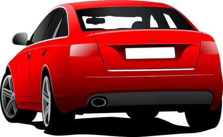 sedan: Red car sedan on the road. Vector illustration Illustration