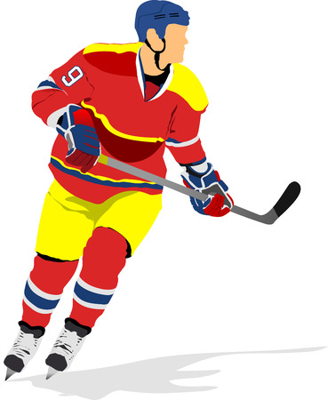 hockey players: Ice hockey players. Colored Vector illustration for designers