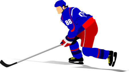 ice hockey player: Ice hockey player. Colored Vector illustration for designers