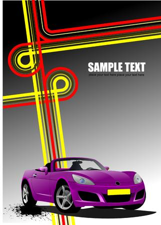 cabriolet: Cover for brochure with junction and purple  cabriolet image. Vector