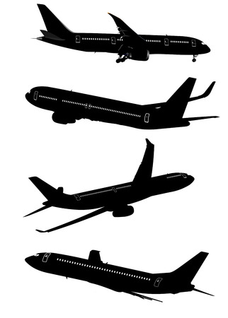 airplane take off: Airplane silhouettes. Vector illustration