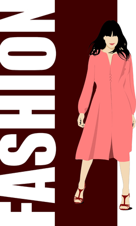clip art feet: Fashion woman poster. Vector illustration