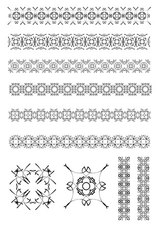 rule line: Collection of Ornamental Rule Lines in Different Design styles. Vector illustration