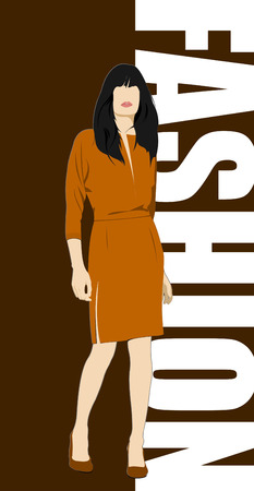 casual dress: Fashion woman poster. Vector illustration