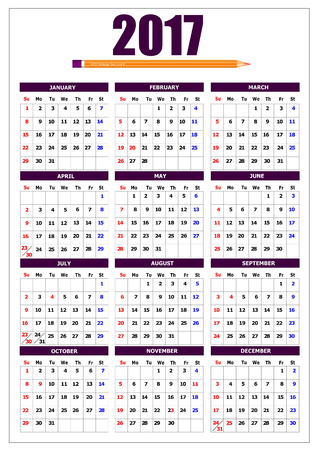 chronological: 2017 calendar with pencil image and American holidays. Vector illustration