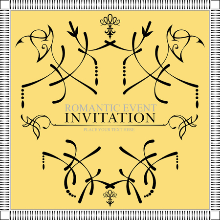 used ornament: Ornament on gold  background. Can be used as invitation card. Vector illustration Illustration