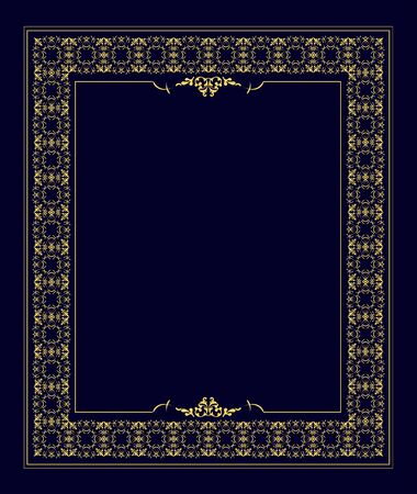 Gold ornament on  blue background. Can be used as invitation card. Vector illustration